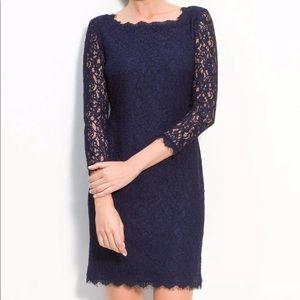 Adriana Papell Lace Overlay Sheath Dress - Navy